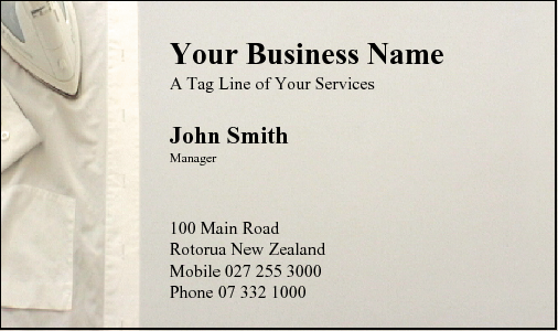 Business Card Design 40 for the Ironing Industry.