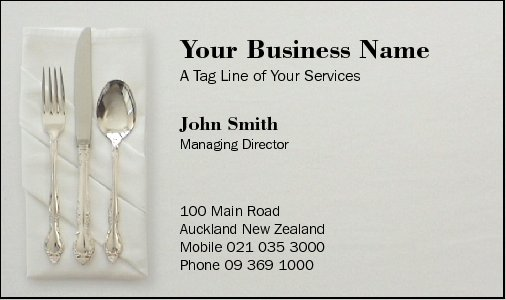 Business Card Design 38 for the Catering Industry.