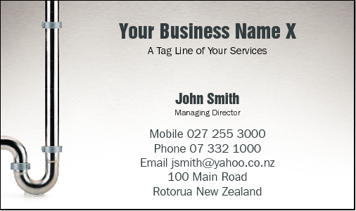 Business Card Design 768 for the Plumbing Industry.