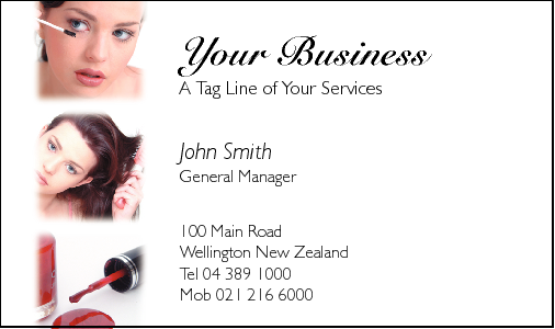 Business Card Design 596 for the Cosmetic Industry.